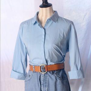 """VTG 90s """"Liz Claiborne Career"""" Blue Stretch Shirt"""